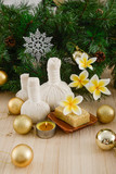 Christmas spa with Composition of spa treatment and wooden background