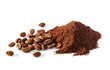 Pile of Ground coffee and coffee beans on white background