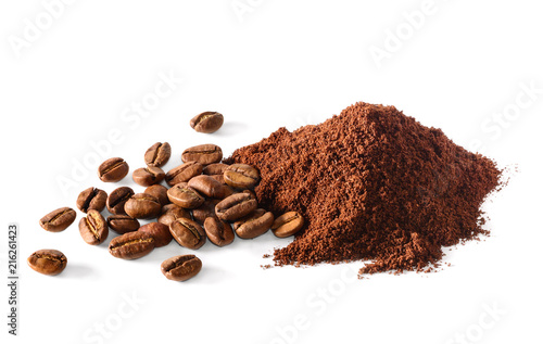 Leinwandbild Motiv Pile of Ground coffee and coffee beans on white background