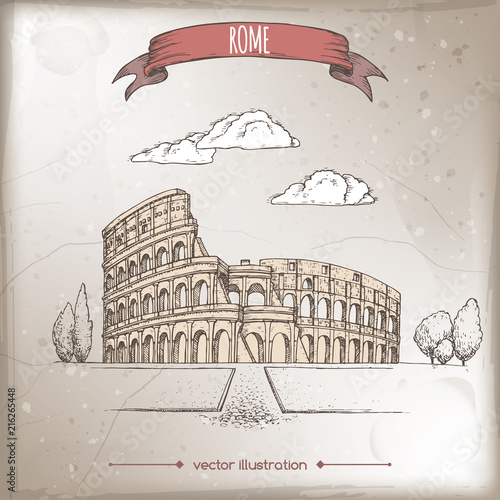 vintage-travel-illustration-with-colosseum-aka-coliseum-in-rome-italy