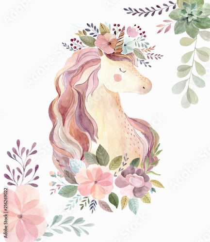 Vintage illustration with cute unicorn and flowers - 216269022