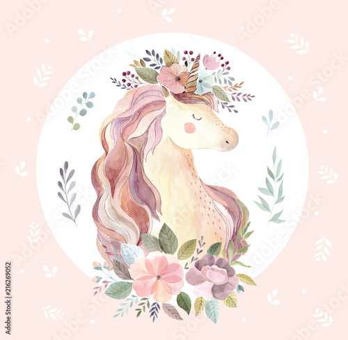 Vintage illustration with cute unicorn on pink background - 216269052