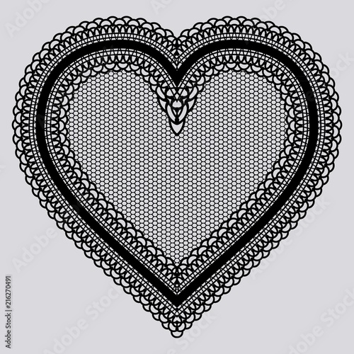 Black lace tenderness heart. Embroidery chic doily for the design of invitations, cards or decoupage. - 216270491