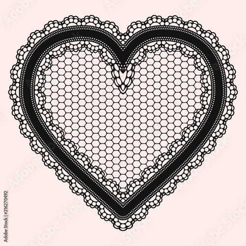 Black lacy openwork heart. Gentle luxurious accessory for the design of invitations, cards or decoupage. - 216270492