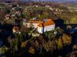Aerial view of Ozalj medieval castle fortress in fall, river Dobra, Karlovac county, Croatia - 216271266