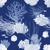 Seamless pattern with hand drawn coral reef - 216273271