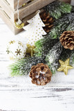 Decoration for Christmas on the wooden table, selective focus
