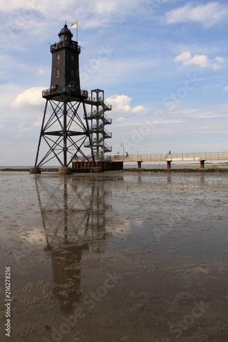 Aluminium Noordzee Leuchtturm Obereversand in Dorum-Neufeld bei Niedrigwasser