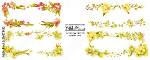 Four yellow wild plants head banners - 216278432
