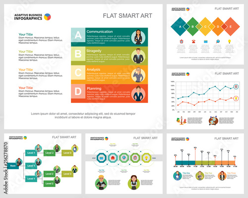 colorful statistics or training concept infographic charts set