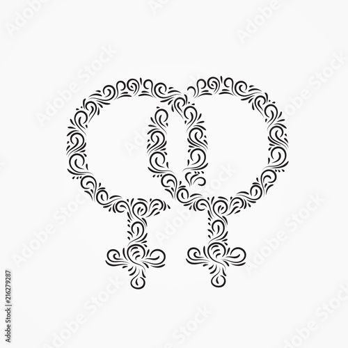 Two Gender Symbols Of Venus For Women From Decorative Ornate