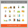 Furniture icon set. Bed, book shelve, bathtub, couch, living room. Housing concept. Can be used for topics like online store, apartment design, interior