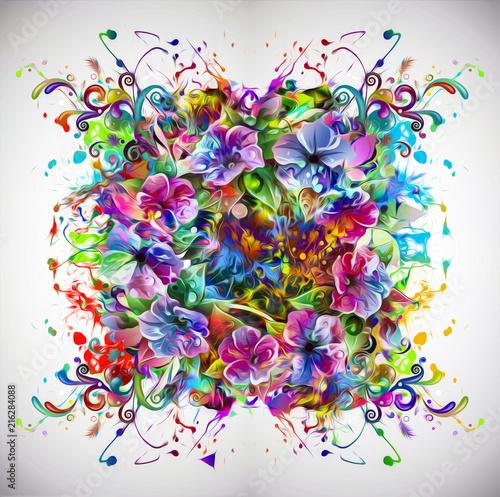 Canvas Reznik абстрактный красочный фон с пятнами чернил