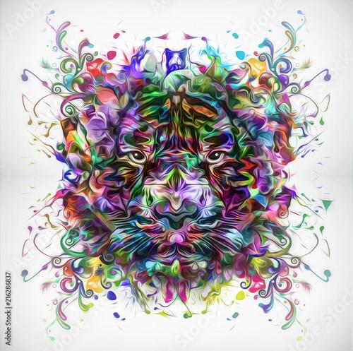 Canvas Reznik тигр с красочным фоном