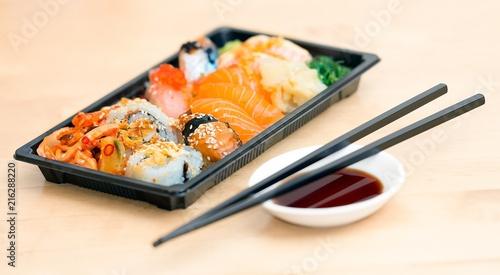 Foto Spatwand Sushi bar white plastic asian dish