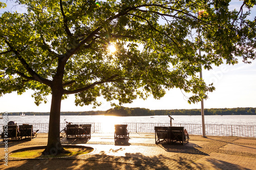Tegel Lake, Lakeshore in the Afternoon Sun in Berlin Germany - 216290640