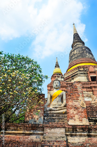 Foto Spatwand Thailand Ayutthaya, Thailand-March 24, 2018: Wat Yai Chai Mongkhon or the Great Monastery of Auspicious Victoryis
