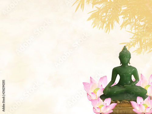 Foto Spatwand Boeddha buddha statue meditating with lotus flowers