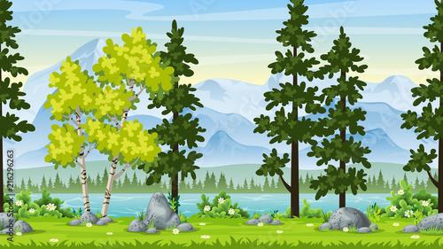 Plexiglas Pool Seamless Cartoon Nature Background