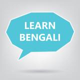 learn bengali written on speech bubble- vector illustration