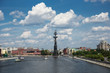 View of Moscow river and monument to Peter the Great from the Crimean bridge in Moscow