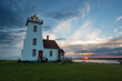 Wood Islands lighthouse in Prince Edward Island at sunset