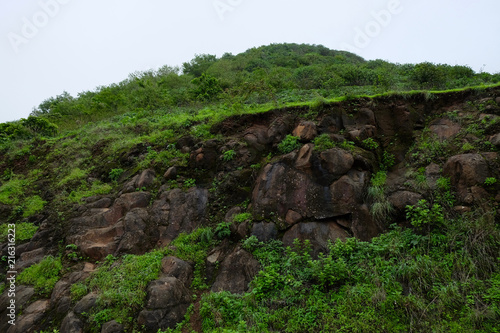 Plexiglas Zwart Lush green monsoon nature landscape mountains, hills, Purandar, Pune, Maharashtra, India