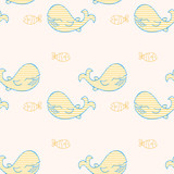 Whales and fish seamless pattern