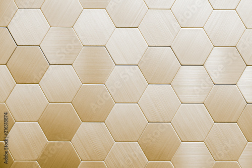 Abstract silver metal background. Geometric hexagons. - 216318874