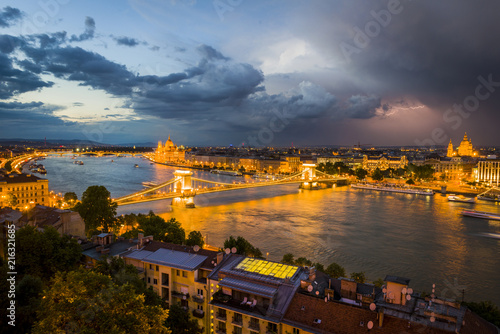 Foto Spatwand Boedapest Budapest and the Danube River, Hungary.