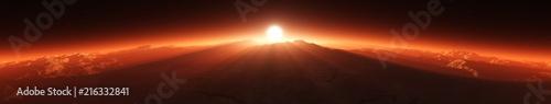 Fotobehang Bruin Panorama of Mars. Sunset on Mars. Martian surface. 3D rendering