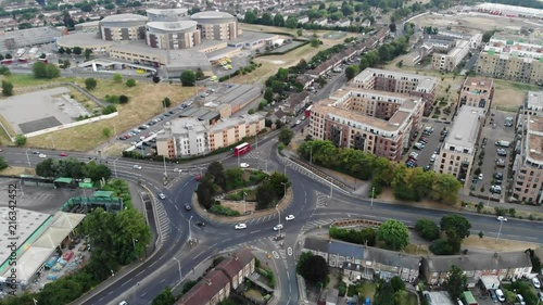 Fridge magnet Aerial footage of a roundabout in Romford and Queens Hospital in the background as the drone pushes in towards the hospital