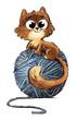 gato con ovillo - 216342884