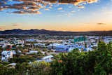 Sunset over Windhoek city panorama with mountains in the backgro