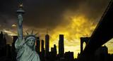 New York City Manhattan downtown skyline and Brooklyn bridge - 216346440