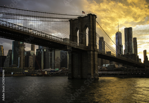 Foto Murales New York City Manhattan downtown skyline and Brooklyn bridge