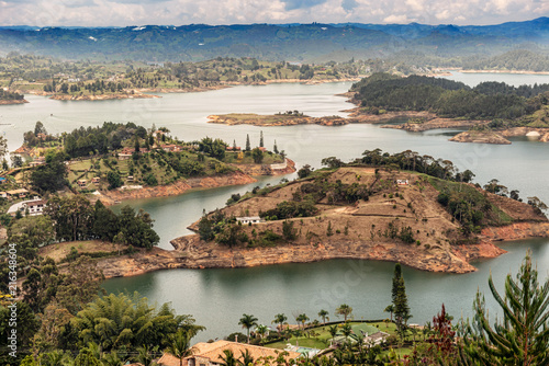 Aerial view of Guatape, Penol, dam lake in Colombia. - 216348604