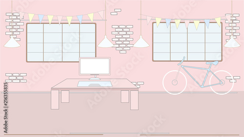 Pink Style Loft Creative Interior. Atelier, Home, Office, Work Space With  Table