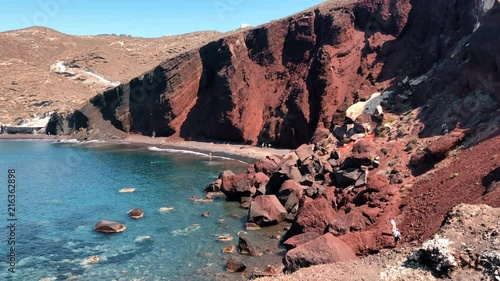 Red Beach on the Greek Island of Santorini. Popular place where most tourists go when visiting Greece. Teal LUT