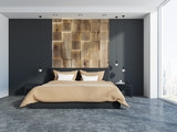 Gray and wooden panoramic bedroom interior