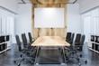 Leinwanddruck Bild - Panoramic meeting room, wooden table, poster