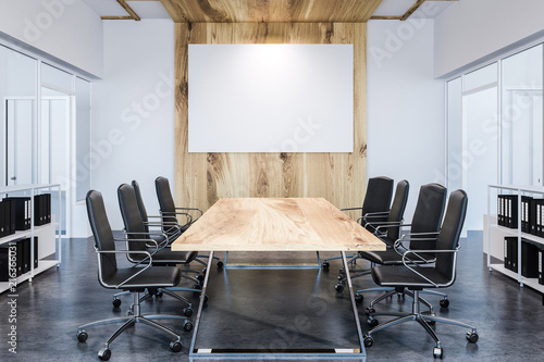 Leinwanddruck Bild Panoramic meeting room, wooden table, poster