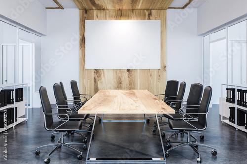 Leinwanddruck Bild Panoramic meeting room, wooden table, poster