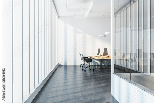 Leinwandbild Motiv City view company office interior side view