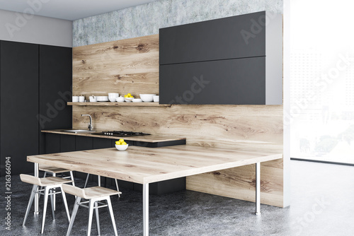 Wooden and black kitchen corner, table - 216366094