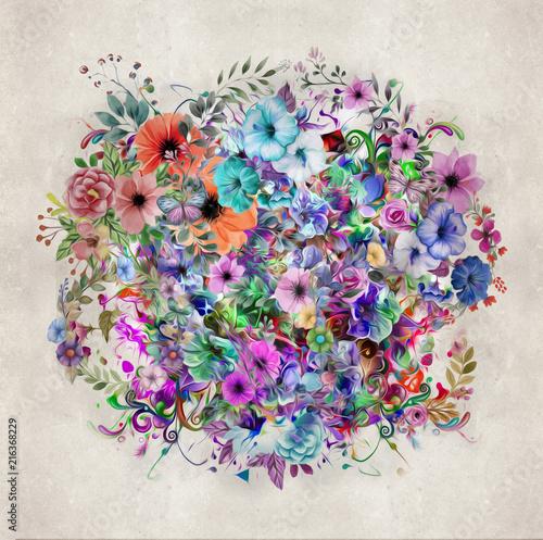 Canvas Reznik Абстрактный цветочный красочный фон
