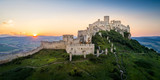 Ruin of Spissky Castle in Slovakia at sunset