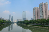 Business district with river in Chengdu, China