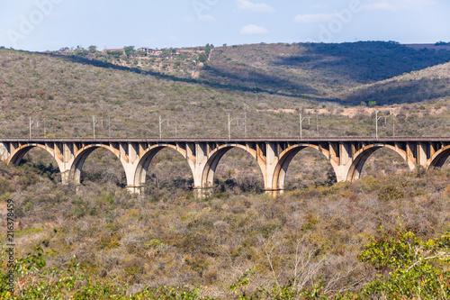 Railway Train Arched Bridge Vintage Landscape