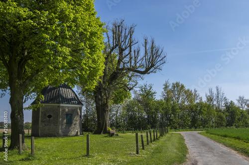 Leinwanddruck Bild Bergkapelle im Frühling